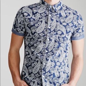 Forever 21 Men paisley bandana print navy shirt 👕